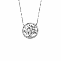 Collier arbre de vie, oxydes & argent 925 rhôdié, long. 40 à 45cm