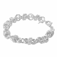 Bracelet anneaux doubles - 18 ou 22cm, argent 925 (19-23g)