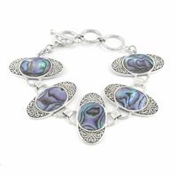 Bracelet nacre paua ou abalone & argent 925, réglable de 16 à 19cm