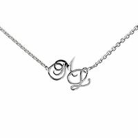 Collier 2-3 initiales grand format, chaîne forçat 40 à 60cm, argent 925