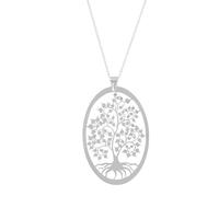 Collier arbre de vie ovale, 4x5cm, argent 925 rhôdié - 40 à 45cm