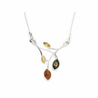 Collier ambre multi & argent 925 - 42 à 47cm