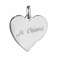 Pendentif Coeur Je t'aime + gravure verso, argent 925 rhodié