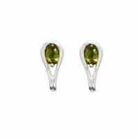 Boucles Tourmaline verte & argent 925 - haut. 1.5cm