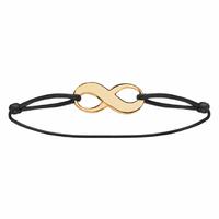 Bracelet Infini + gravure(s), cordon coulissant, plaqué or 18K