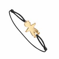 Bracelet garçon + gravure(s), cordon coulissant, plaqué or 18K
