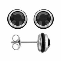 Boucles oxydes noirs & acier - 7mm