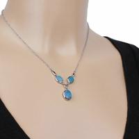 Collier Opales bleues & argent 925 rhodié, 40 à 44cm