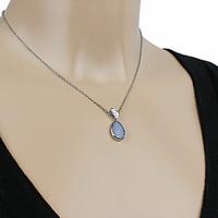 Collier Opale bleue & argent 925 rhodié, 40 à 60cm, au choix