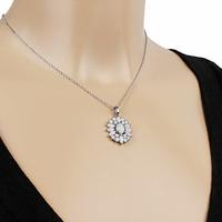 Collier fleur opale blanche & argent 925 rhodié, long. au choix, 40 à 60cm