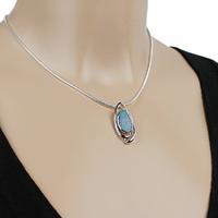 Collier Opale bleue & argent 925 rhodié, chaîne au choix