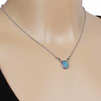Collier opale bleue & argent 925 rhodié, réglable 42 à 45cm