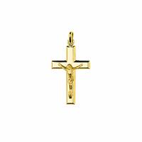 Pendentif Croix, Jésus-Christ + gravure, haut. 3.5cm, plaqué or 18K