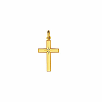 Pendentif petite Croix, étoile diamantée + gravure(s), plaqué or 18K