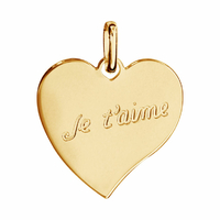 Pendentif Coeur Je t'aime + gravure verso, plaqué or 18K