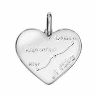Pendentif coeur courbe d'amour + gravure verso, argent 925 rhodié