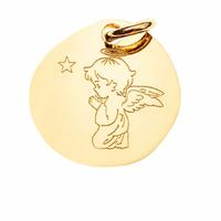 Pendentif ange qui prie + gravure(s), Vermeil - 2.2cm