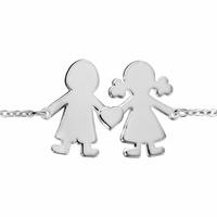 Bracelet 1 fille, 1 garçon + gravure(s) - 13 à 21cm, argent 925