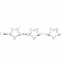 Bracelet 5 étoiles argent 925, long. 18 ou 19cm
