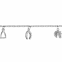 Bracelet chevaux, fers, étriers - 17.5cm, argent 925 rhodié
