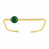 Bracelet Aventure, Malachite & plaqué or 18K, poignet 15 à 17.5cm