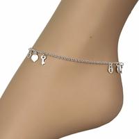 Chaîne de cheville coeurs, clés & cadenas, argent 925 - 23-26cm