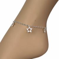 Chaîne de cheville 5 étoiles & argent 925, régl. 22 à 25cm