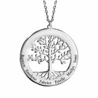 Collier arbre de vie 1 à 6 gravures face+verso - 40 à 60cm, argent 925 rhodié