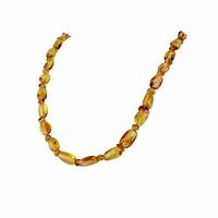 Collier ambre miel/doré extra, mi-sautoir, 60cm
