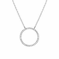 Collier anneau 2cm, oxydes & argent 925 rhodié, régl. à 40 et 42cm
