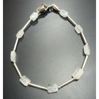 Bracelet pierre de lune & argent 925, long. 18.5cm
