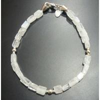 Bracelet pierre de lune & argent 925, long. 18cm