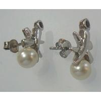 Boucles Perles d'eau douce, Grenat & Argent, puces