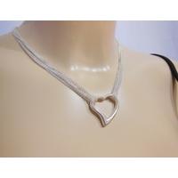 Collier coeur sur multifils en argent, long. 45cm