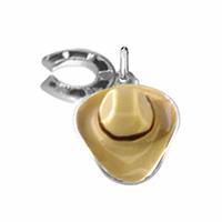 Pendentif chapeau de cow boy & fer à cheval en argent 925, hauteur 2,5cm