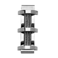 Pendentif Acier rectangulaire, triple câble, moderne, 4cm haut