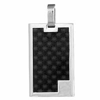 Pendentif acier & carbone noir, haut. 3.7cm + gravure
