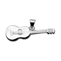 Pendentif guitare classique en argent 925, petit modèle, longueur 2.7cm