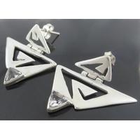 Boucles cristal de roche & argent 925, 3cm de côtés