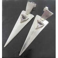 Boucles cristal de roche & argent 925, longueur 5cm