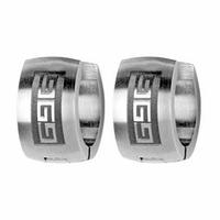 Boucles motif grec, demi-créoles acier larges vendues par paire ou à l'unité