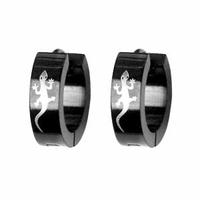 Boucles Salamandre, demi-créoles acier bicolore, vendues par paire ou à l'unité.