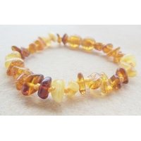 Bracelet ambre multi, noeuds intermédiaires et fermoir en ambre, longueur 16cm