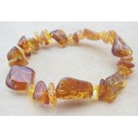 Bracelet ambre miel & cognac, sur élastique