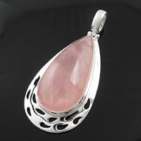 Pendentif quartz rose & argent 925, hauteur totale 5.5cm, photo contractuelle