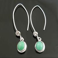 Boucles turquoise & argent 925, 4.7cm, au choix : pierre lisse ou veinée