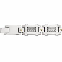 Bracelet acier, double câble & vis plaqué or, large,  longueur 21cm