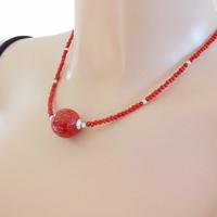 Collier corail rouge, gorgone & argent 925, réglable de 42 à 47cm