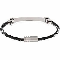 Bracelet cuir tressé noir & acier, long. 23.5cm + gravure(s)