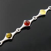 Bracelet ambre multi & argent 925, long. 19cm